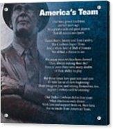America's Team Poetry Art Acrylic Print