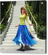 Ameynra Fashion. Petal Skirt. Model Sofia Acrylic Print