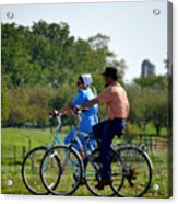 Amish Bike Ride Acrylic Print