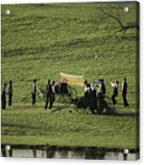 Amish Buggies Anchor A Volleyball Net Acrylic Print by Ira Block