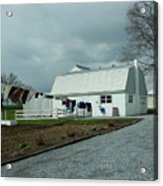 Amish Clothesline And A Barn Acrylic Print