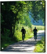 Amish Couple On Bicycles Acrylic Print