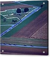 Amish Funeral Buggie Procession Aerial  Acrylic Print