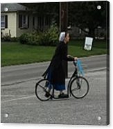 Amish Girl Going To Work Acrylic Print