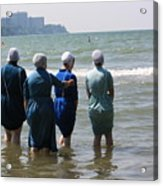 Amish Girls In The Surf Acrylic Print