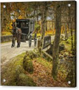 Amish Horse And Buggy Crossing A Bridge Acrylic Print