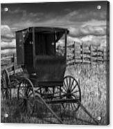 Amish Horse Buggy In Black And White Acrylic Print