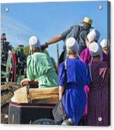 Amish On Steam Engine Acrylic Print