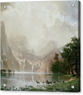 Among The Sierra Nevada Mountains California Acrylic Print by Albert Bierstadt