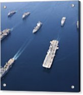 Amphibious Task Force-west In Formation Acrylic Print by Stocktrek Images