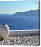Amphora In Santorini, Greece Acrylic Print