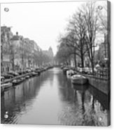 Amsterdam Canal Black And White 2 Acrylic Print