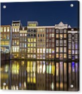 Amsterdam Canal Houses At Night Acrylic Print