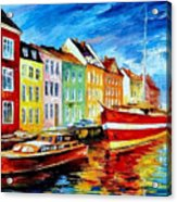 Amsterdam-city Dock - Palette Knife Oil Painting On Canvas By Leonid Afremov Acrylic Print