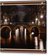 Amsterdam - Night Life L B With Decorative Ornate Printed Frame. Acrylic Print