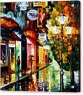 Amsterdam Night Rain Acrylic Print