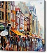 Amsterdam Rain - Palette Knife Oil Painting On Canvas By Leonid Afremov Acrylic Print
