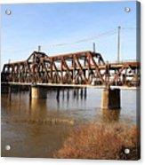 Amtrak California Crossing The Old Sacramento Southern Pacific Train Bridge . 7d11674 Acrylic Print