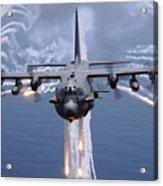 An Ac-130h Gunship Aircraft Jettisons Acrylic Print