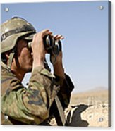An Afghan Commando Scans The Horizon Acrylic Print