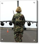 An Airfield Manager Greets An Arriving Acrylic Print