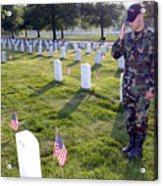 An Airman Renders Honors After Placing Acrylic Print by Stocktrek Images