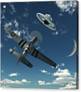 An American P-51 Mustang Gives Chase Acrylic Print by Mark Stevenson