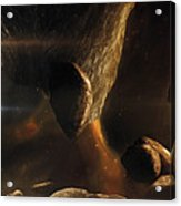 An Asteroid Field Next To An Earth-like Acrylic Print