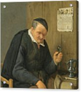 An Elderly Man Seated Holding A Wineglass Acrylic Print