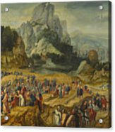 An Extensive Landscape With The Preaching Of Saint John The Baptist And The Baptism Of Christ Acrylic Print