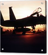 An F-15c Eagle Aircraft Silhouetted Acrylic Print by Stocktrek Images