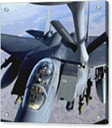 An F-15e Strike Eagle Refuels Over Iraq Acrylic Print by Stocktrek Images