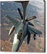 An F-16 Fighting Falcon Receiving Fuel Acrylic Print