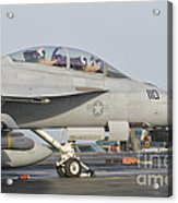 An Fa-18f Super Hornet Ready To Launch Acrylic Print