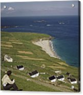 An Irishman Overlooks Cottages That Acrylic Print by Howell Walker