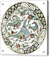 An Iznik Polychrome Pottery Dish With Birds Acrylic Print