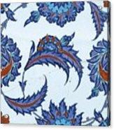 An Iznik Polychrome Pottery Tile, Turkey, Circa 1570-85, By Adam Asar, No 18 Acrylic Print