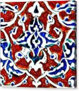 An Iznik Polychrome Pottery Tile, Turkey Circa 1580, By Adam Asar, No 18b Acrylic Print