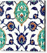 An Iznik Polychrome Tile, Turkey, Circa 1575, By Adam Asar, No 23h Acrylic Print