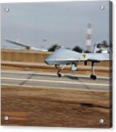 An Mq-1c Sky Warrior Uav Lands At Camp Acrylic Print by Stocktrek Images