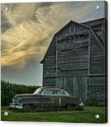 An Old Cadillac By A Barn And Cornfield Acrylic Print