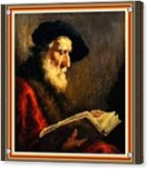 An Old Man Reading P B With Decorative Ornate Printed Frame. Acrylic Print