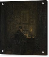 An Old Man Writing By Candlelight Acrylic Print