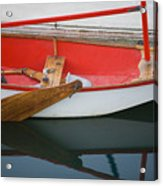 An Old Sailboat Tied To The Dock Acrylic Print