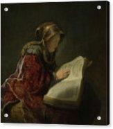 An Old Woman Reading - Prophetess Hannah Acrylic Print