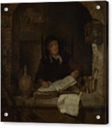An Old Woman With A Book Acrylic Print