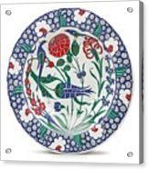 An Ottoman Iznik Style Floral Design Pottery Polychrome, By Adam Asar, No 1 Acrylic Print