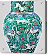 An Ottoman Iznik Style Floral Design Pottery Polychrome, By Adam Asar, No 7a Acrylic Print