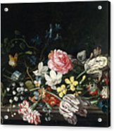 An Overturned Vase Of Flowers Resting On A Ledge Acrylic Print