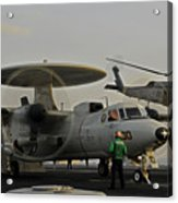 An Sh-60f Sea Hawk Helicopter Lifts Off Acrylic Print